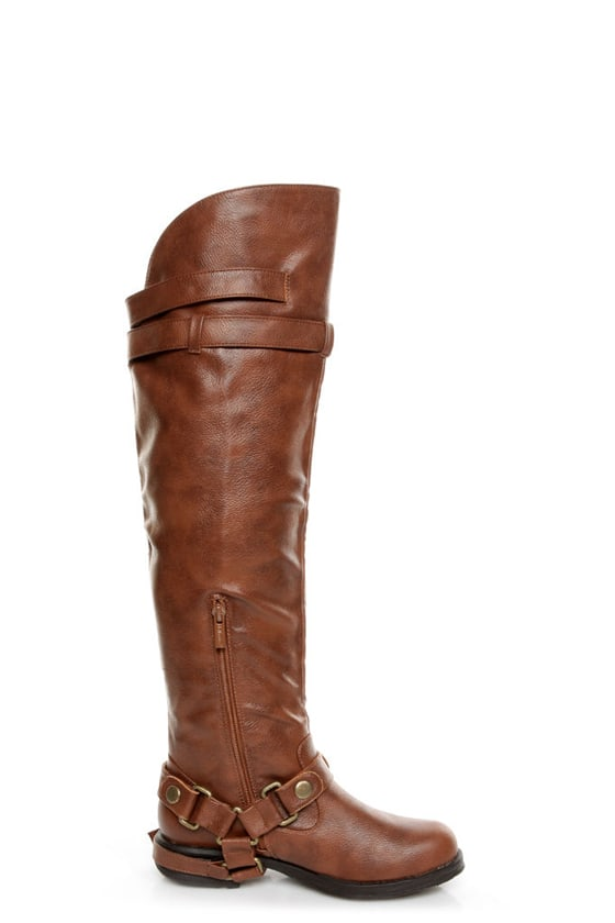 Dollhouse Hit Chestnut Biker Babe Belted OTK Motorcycle Boots at Lulus.com!
