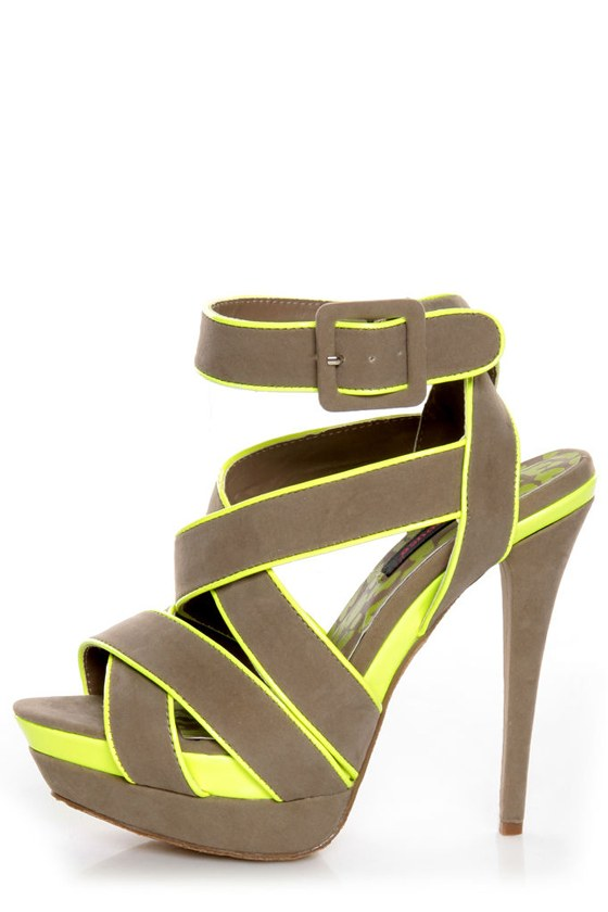 Dollhouse Muse Taupe Suede Neon Yellow Platform Heels
