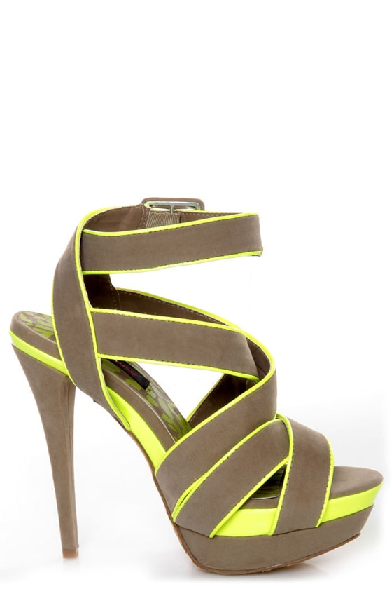Dollhouse Muse Taupe Suede Neon Yellow Platform Heels at Lulus.com!