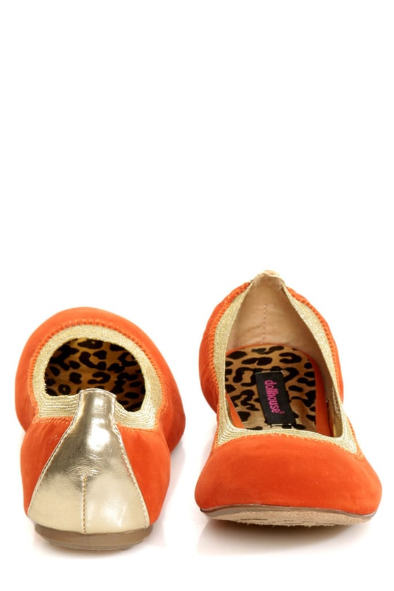 Dollhouse Mystical Orange and Gold Ballet Flats