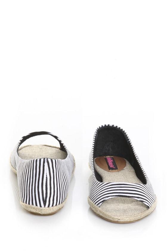 Dollhouse Prizah Black & White Striped Peep Toe Flats