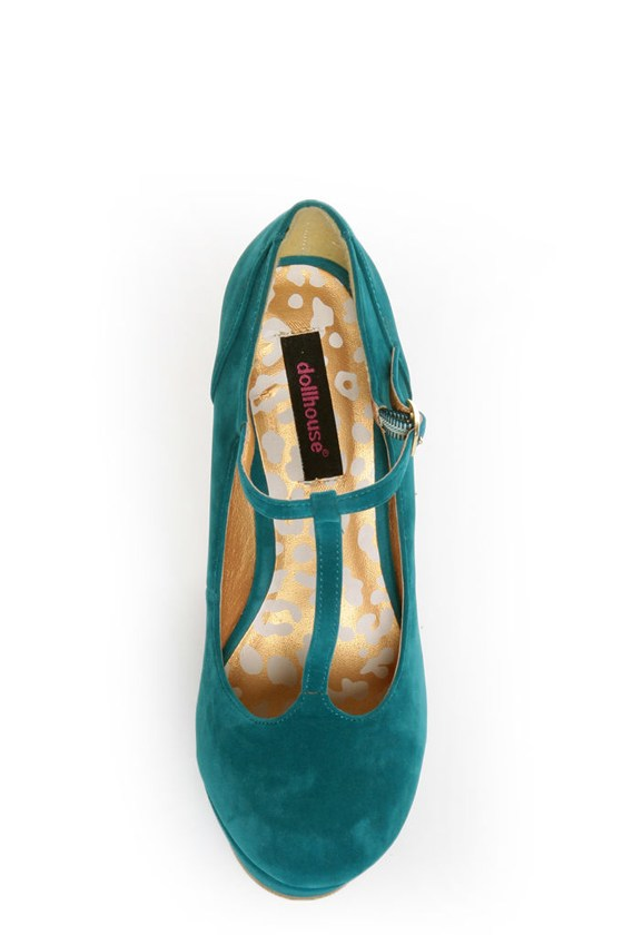 Dollhouse Trip Teal T-Strap Platform Wedges