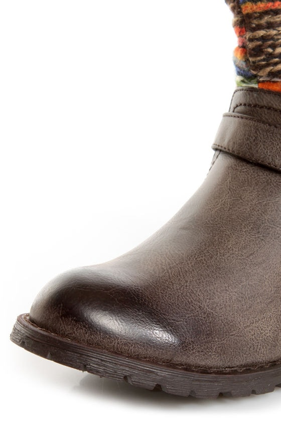 Dollhouse Yarn Brown Multi Yarn-Striped Ankle Boots