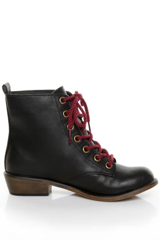 Dirty Laundry Preview Tumble Black Lace-Up Ankle Boots - $64.00