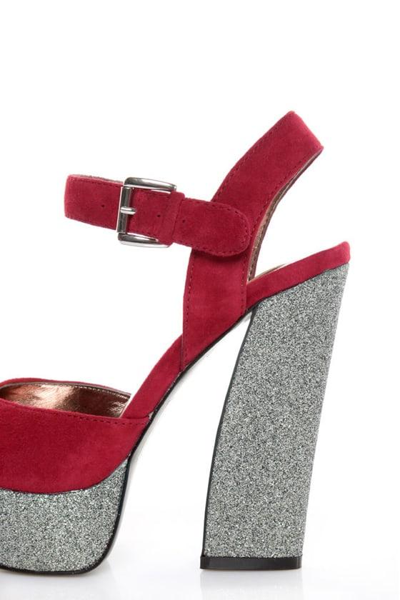 Dolce Vita Lissie Berry Suede Glitter Platform Heels