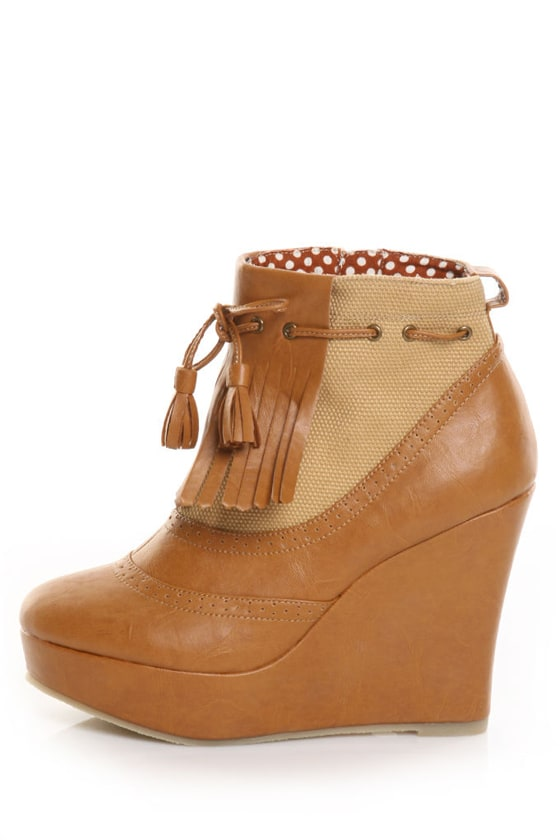 Ego and Greed Powers Brown Kiltie Spectator Ankle Booties