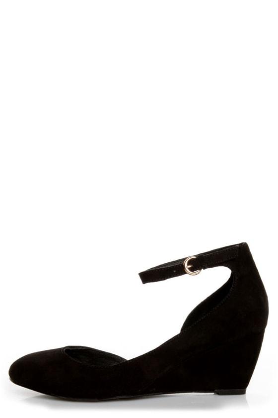 Envy Iris Black Suede D\\\'Orsay Wedges