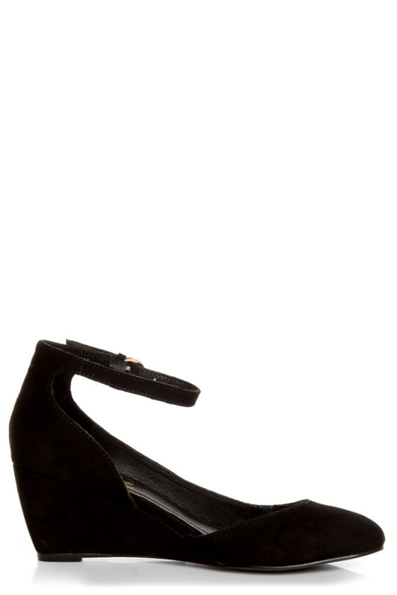 Envy Iris Black Suede D'Orsay Wedges at Lulus.com!