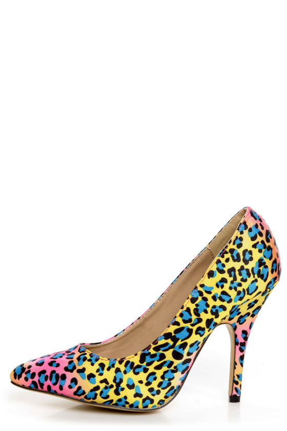 Fiebiger Tokyo Blue Dot Leopard Print Multicolored Pointed Heels