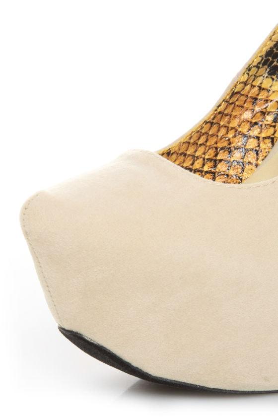 Fahrenheit Anne 08 Beige Velvet Chunky Platform Heels