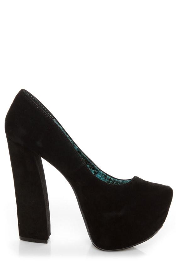 Fahrenheit Anne 08 Black Velvet Chunky Platform Heels at Lulus.com!