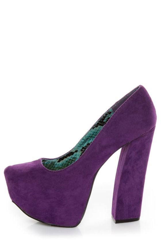 Fahrenheit Anne 08 Purple Velvet Chunky Platform Heels