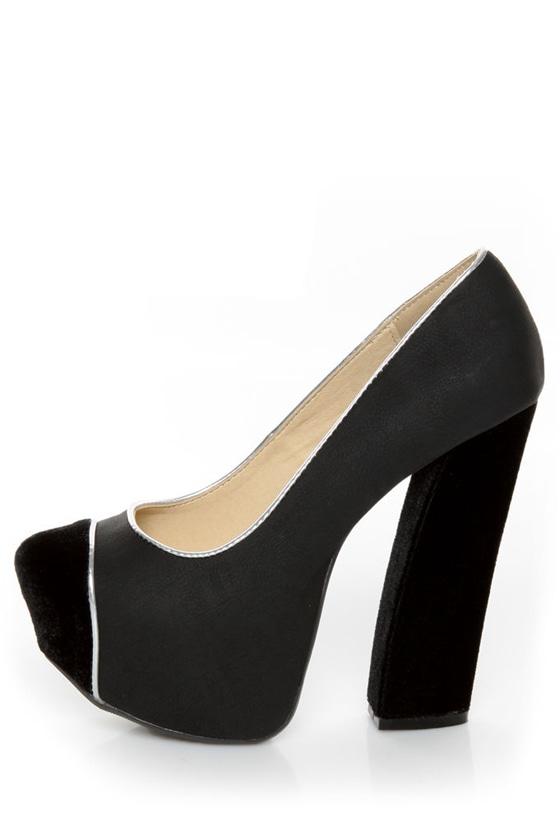Fahrenheit Anne 41 Black Velvet Cap-Toe Platform Heels at Lulus.com!