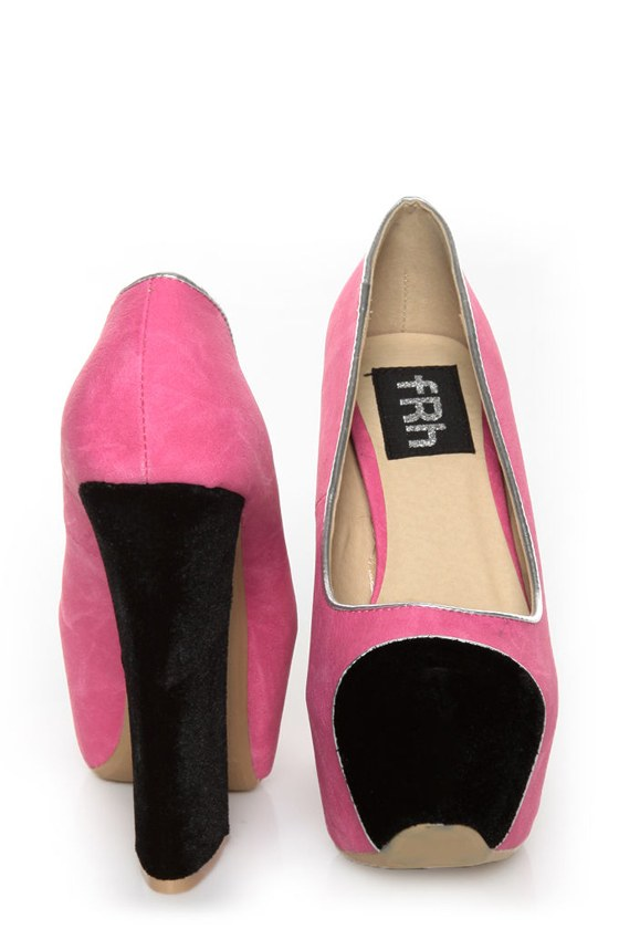Fahrenheit Anne 41 Fuchsia and Black Cap-Toe Platform Heels