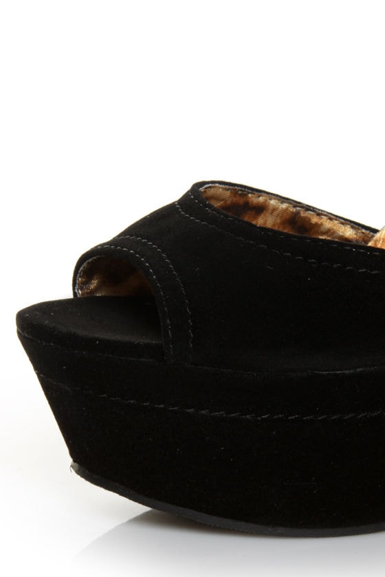 Fahrenheit Yes 05 Black Velvet Platform Peep Toe Heels