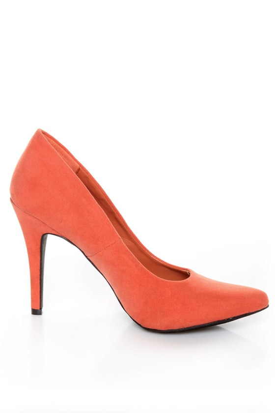 Fahrenheit CR-01 Coral Velvet Pointed Pumps