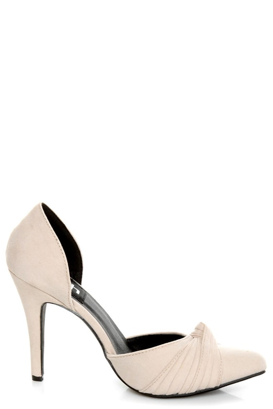Fahrenheit CR-03 Beige Velvet Pointed D-Orsay Pumps at Lulus.com!