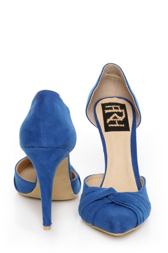 Fahrenheit CR-03 Blue Velvet Pointed D-Orsay Pumps
