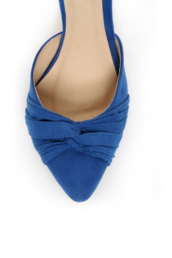 Fahrenheit CR-03 Blue Velvet Pointed D-Orsay Pumps at Lulus.com!