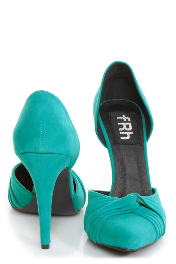 Fahrenheit CR-03 Teal Velvet Pointed D-Orsay Pumps at Lulus.com!