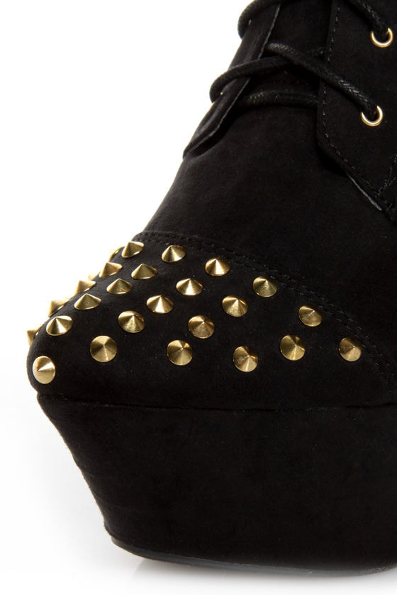 Fahrenheit Kristen 03 Black Studded Lace-Up Platform Booties