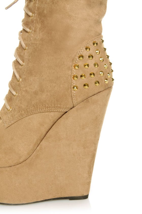 Fahrenheit Kristen 03 Taupe Studded Lace-Up Platform Booties at Lulus.com!