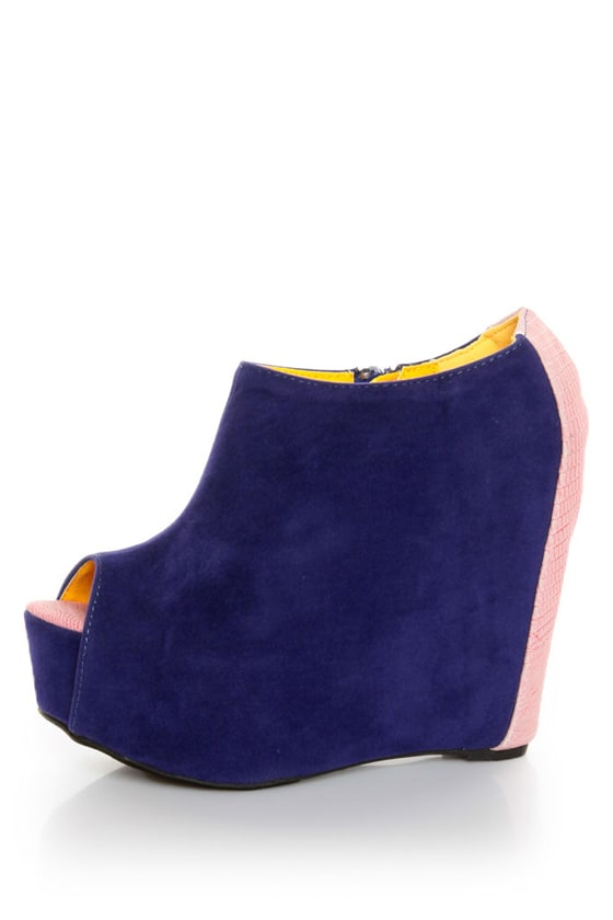 Fahrenheit Mica 01A Blue Velvet Peep Toe Shootie Wedges at Lulus.com!