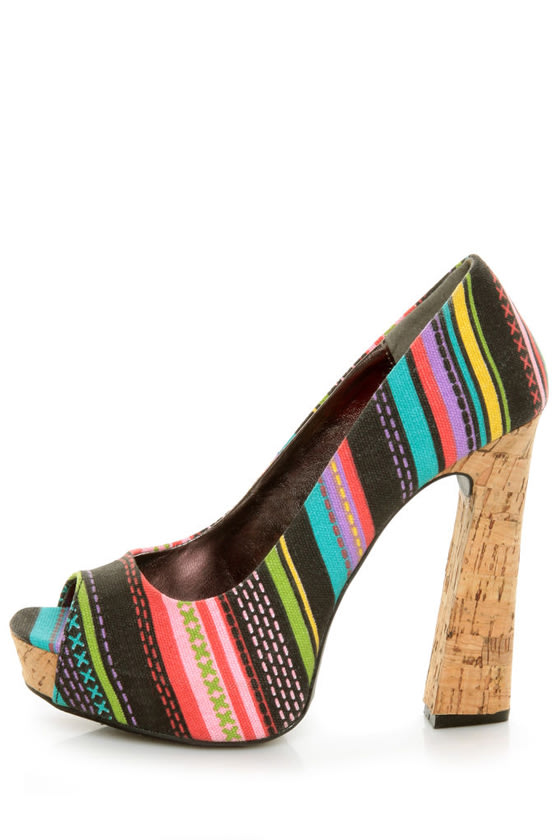 Fahrenheit Minka 06 Black Canvas Multi Print Peep Toe Heels