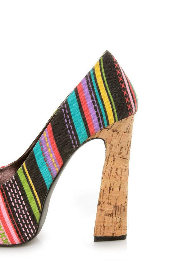 Fahrenheit Minka 06 Black Canvas Multi Print Peep Toe Heels