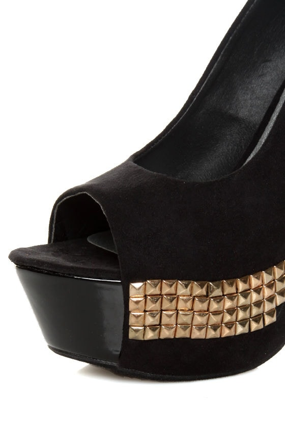 Toi et Moi Nandi 05 Black Suede Studded Platform Pumps at Lulus.com!
