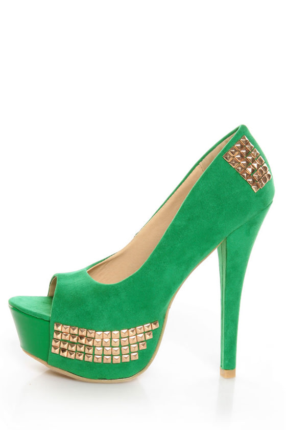 Toi et Moi Nandi 05 Green Suede Studded Platform Pumps at Lulus.com!