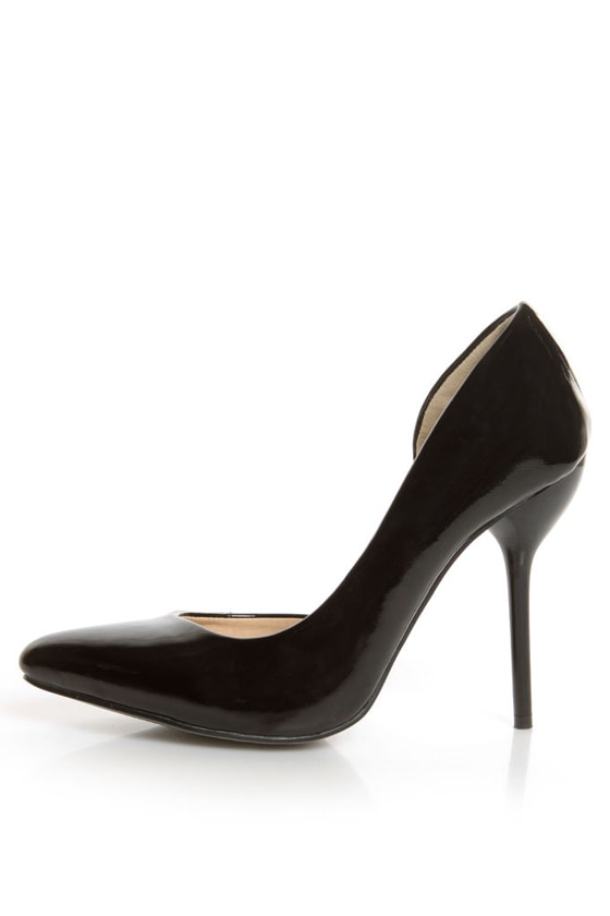 daed336caa9 Fahrenheit Zara 01 Black Patent Pointed D Orsay Pumps -  35.00