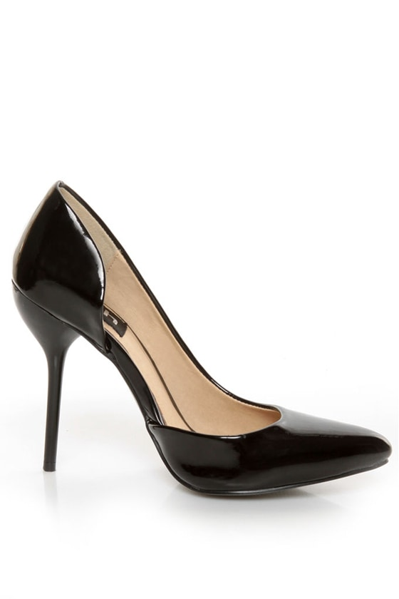 Fahrenheit Zara 01 Black Patent Pointed D\\\'Orsay Pumps