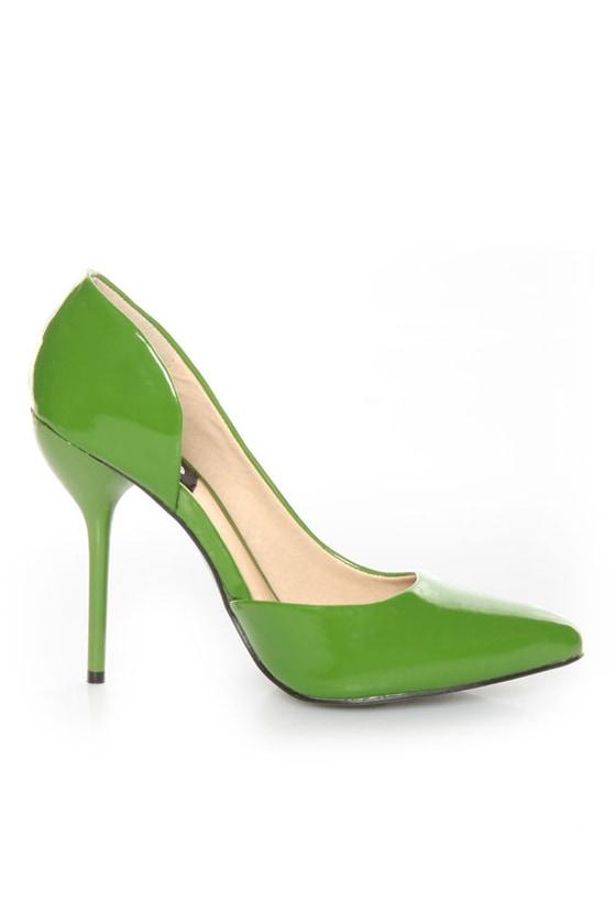 Fahrenheit Zara 01 Green Patent Pointed D\\\\\\\\\\\\\\\'Orsay Pumps