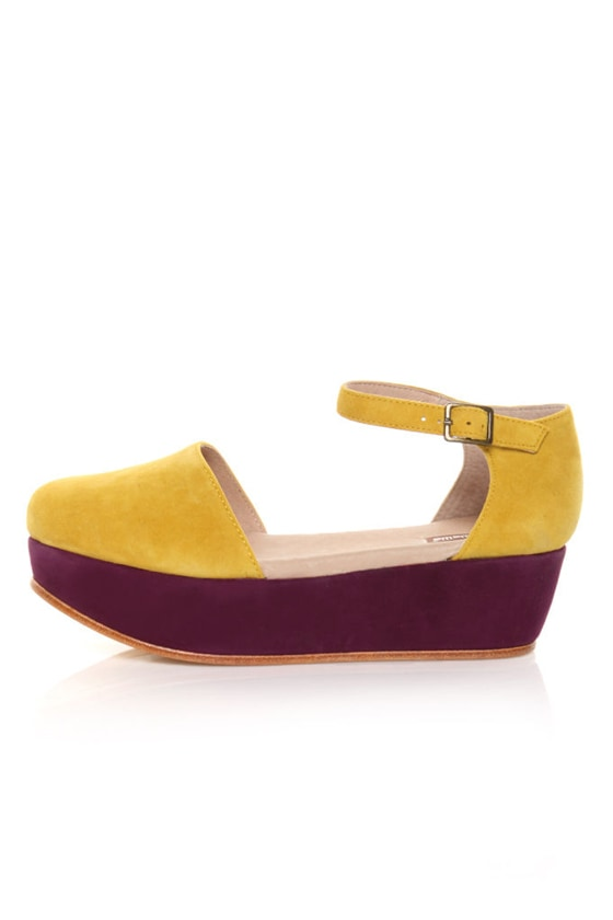30a1f1521fc7 Gee WaWa Daphne Yellow   Purple Color Block Flatform Platforms -  117.00
