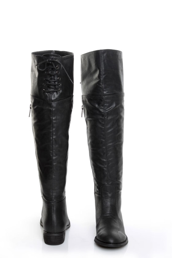 Gc shoes kim black lace up back otk riding boots 81 00