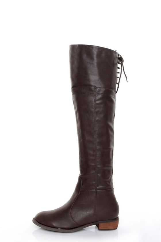 GC Shoes Kim Brown Lace-Up Back OTK Riding Boots