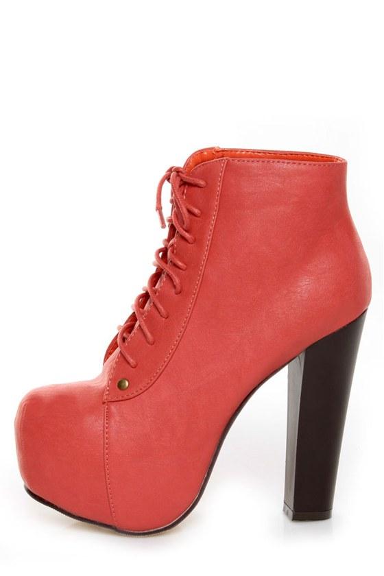 e8238b4098679 Glaze Victoria 11 Coral Lace-Up Platform Ankle Boots