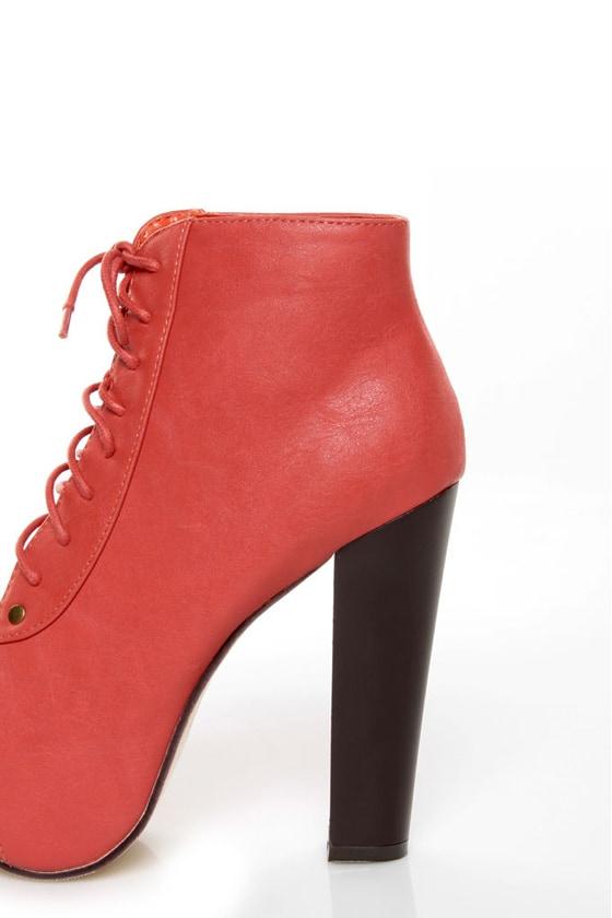 Glaze Victoria 11 Coral Lace-Up Platform Ankle Boots