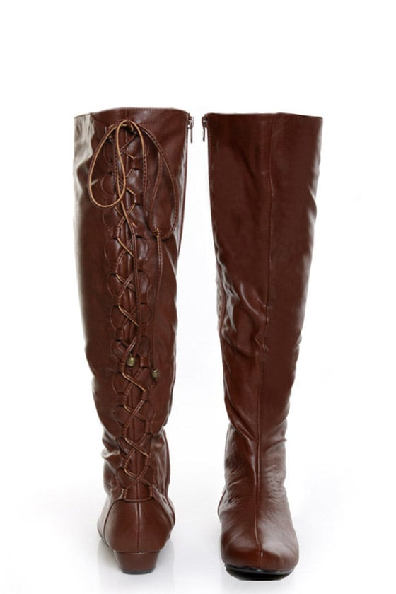 gomax agatha 12 brown lace up back knee high boots 69 00