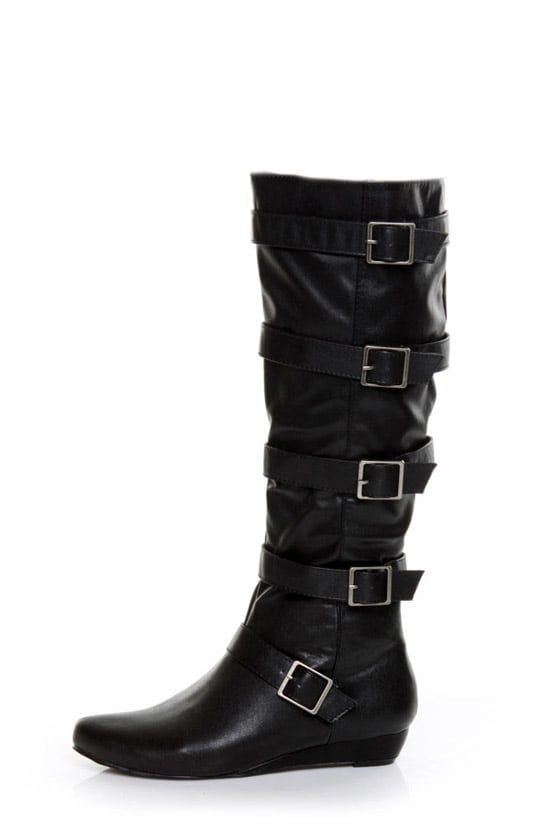GoMax Agatha 16 Black Belted Knee High Boots