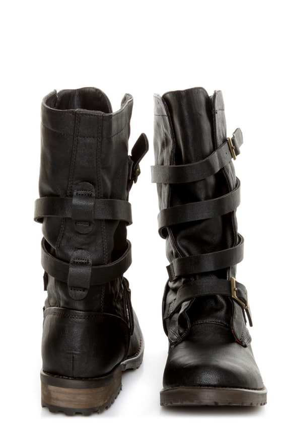 GoMax Apple Ranch 01 Black Slouchy Belted Combat Boots