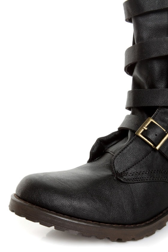 GoMax Apple Ranch 01 Black Slouchy Belted Combat Boots at Lulus.com!