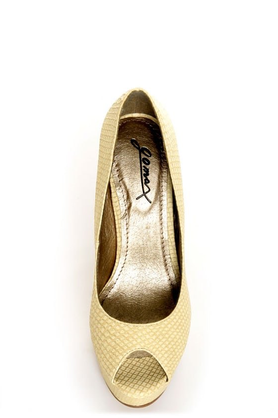 GoMax Eye Catcher 01 Natural Beige Snake Peep Toe Platform Pumps