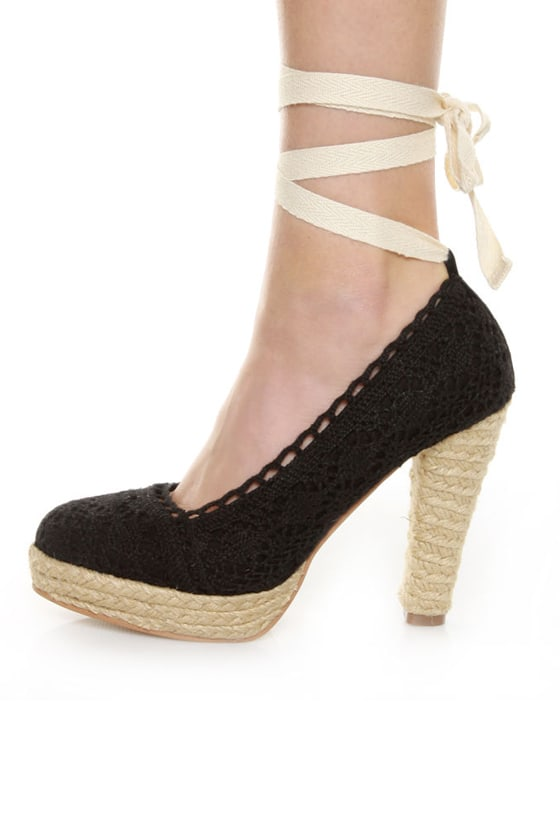 GoMax Fresh 01 Black Crocheted Espadrille Heels