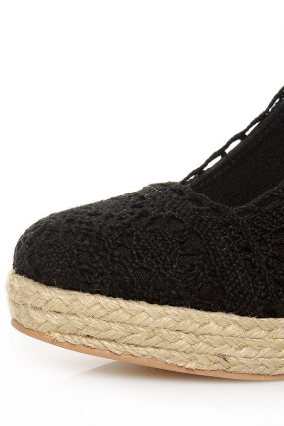 GoMax Fresh 01 Black Crocheted Espadrille Heels
