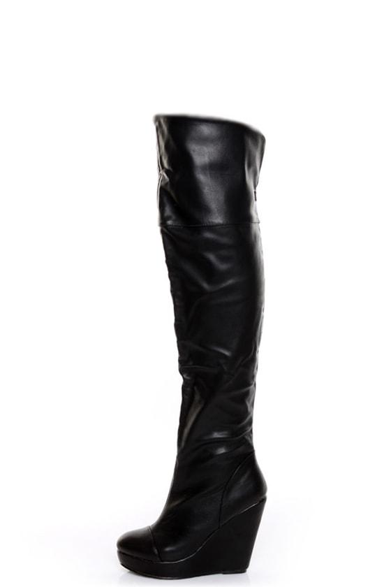 gomax house 01 black cuffed otk wedge boots 69 00
