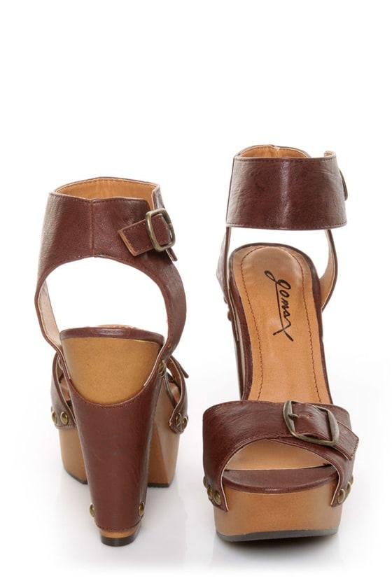 ff25c4cfe98 GoMax Jacqueline 19 Dark Brown Buckled Platform Heels -  49.00