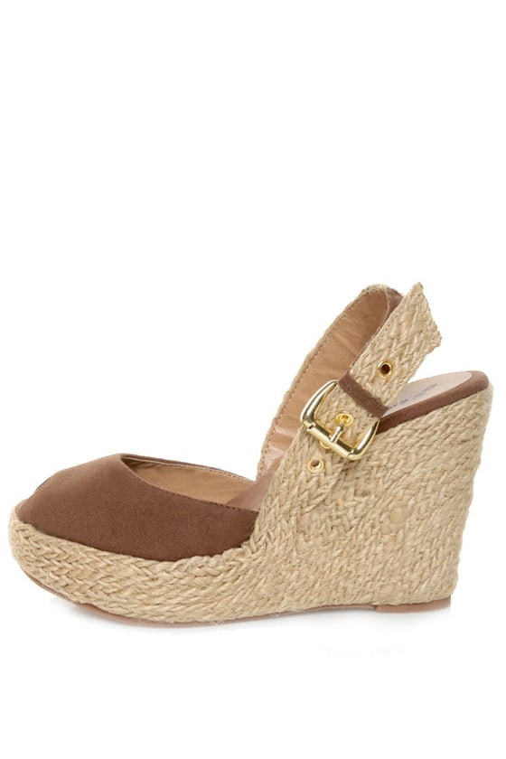 GoMax Moki 08 Brown Canvas Espadrille Wedge Sandals