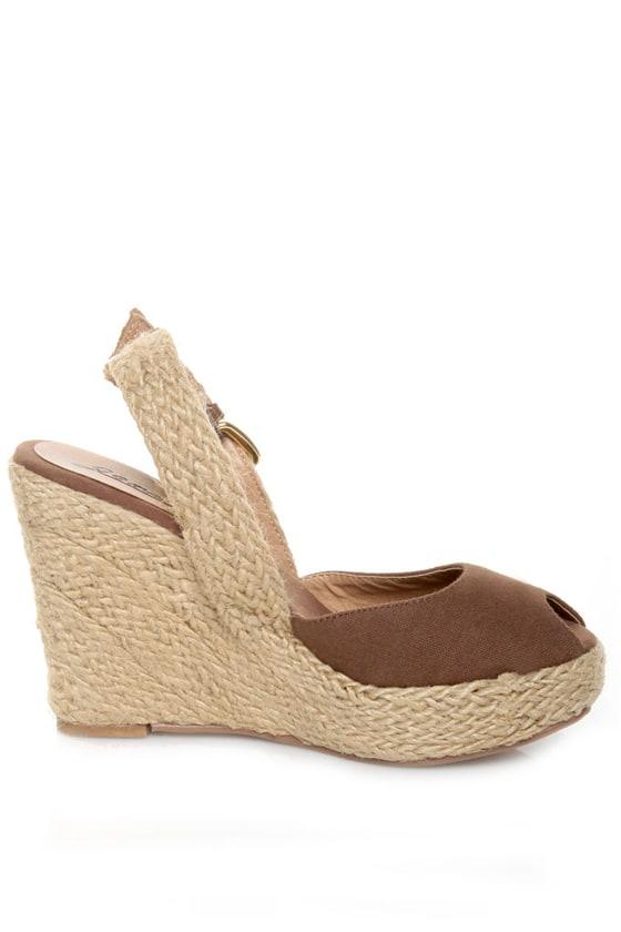 GoMax Moki 08 Brown Canvas Espadrille Wedge Sandals
